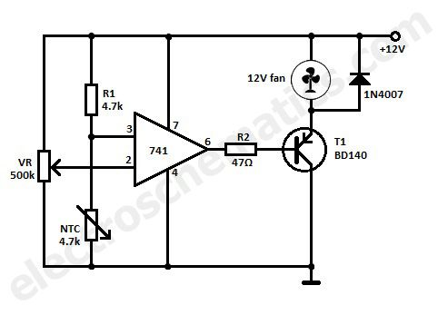 Fan controlled by temperature circuit