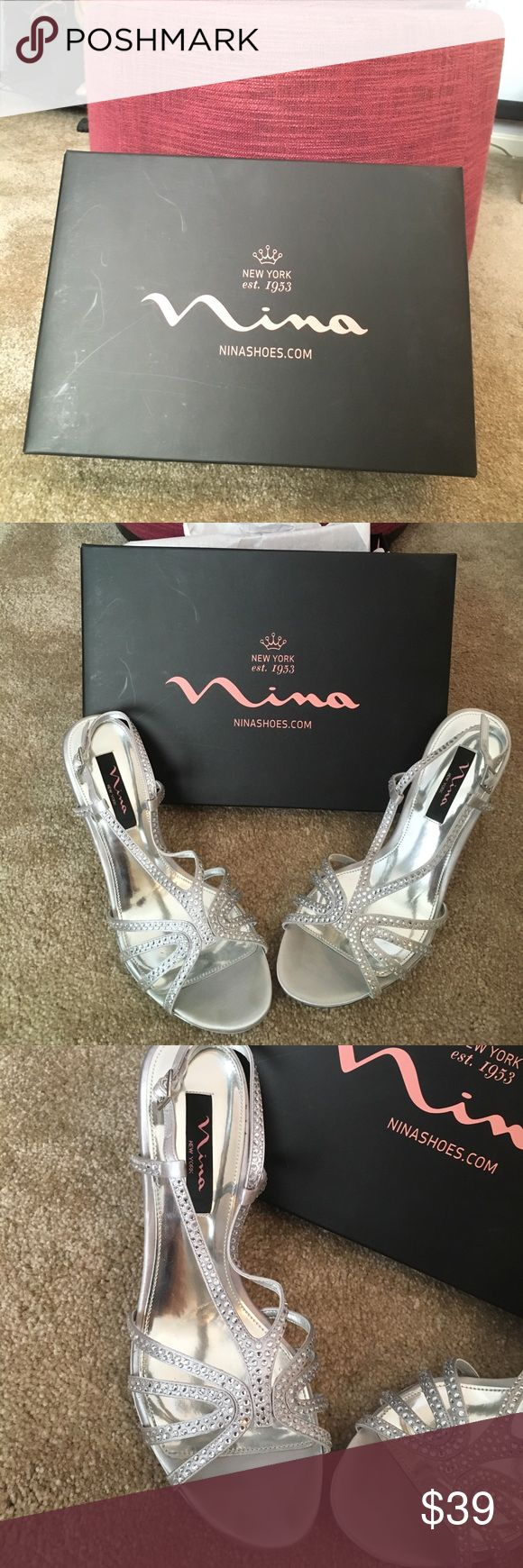 Nina shoes in silver size 9M Shoes worn twice for an event.  They are in good condition with some dirt/scuff marks on the sole of the shoe and padding.  Features rhinestones whom the straps that buckle.  Heel is approximately 3 inches.  One the right heel the slip pad in a little worn.  Overall in excellent condition.  Perfect for prom, bridesmaids or any event. Nina Shoes Heels