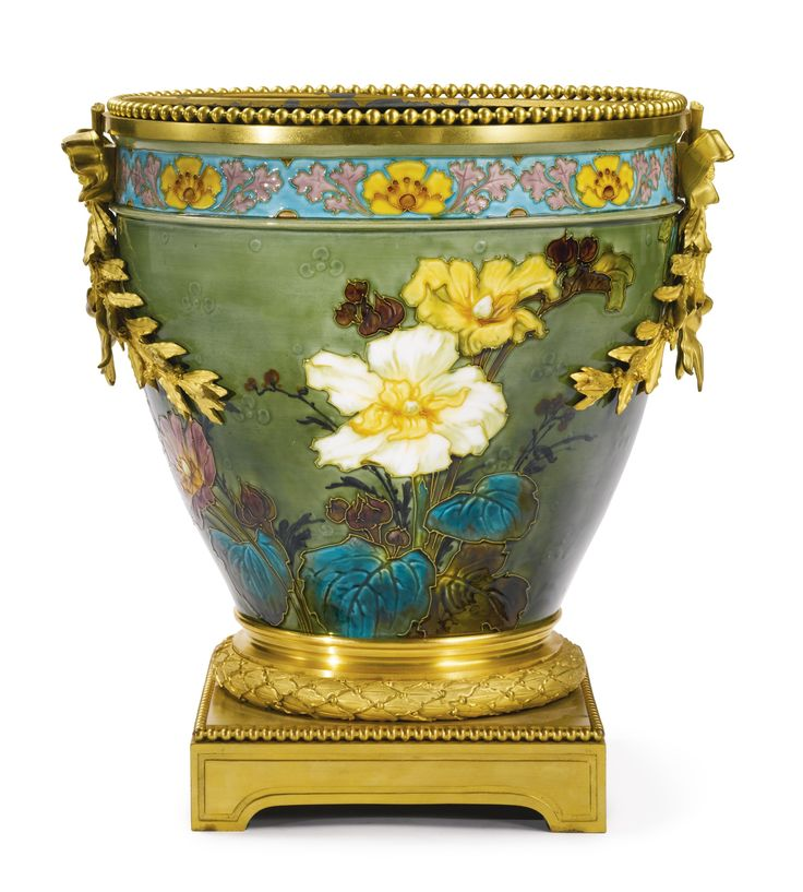 ♔ MANUFACTURE DE SÈVRES A LARGE LOUIS XVI STYLE GILT BRONZE MOUNTED CHINESE-STYLE PORCELAIN JARDINIÈRE FRANCE, LATE 19TH/EARLY 20TH CENTURY DECORATED IN THE CLOISONNE TECHNIQUE BY VICTOR AMALRIC WALTER AND SIGNED WALTER, THE UNDERSIDE OF THE VESSEL MARKED SEVRES IN GREEN UNDER-GLAZE.   https://www.pinterest.com/moonshooter1