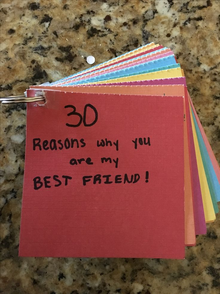 This is a gift for my friend I made... I did 30 reasons why you are my best friend.