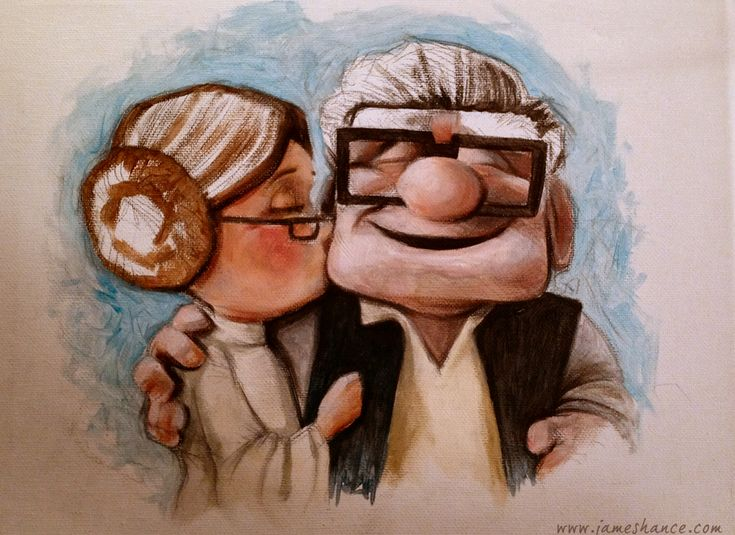 Today we bring you a cute piece of Geek Art featuring the characters from Pixar's UP as Han Solo and Princess Leia. The adorably cool piece of fan art was created by James Hance.// buenisimooooooooo aunque no me guste tanto la idea de disney verdad