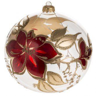 Boule de Noel verre soufflé transparente fleurs rouges 15cm | vente en ligne sur HOLYART