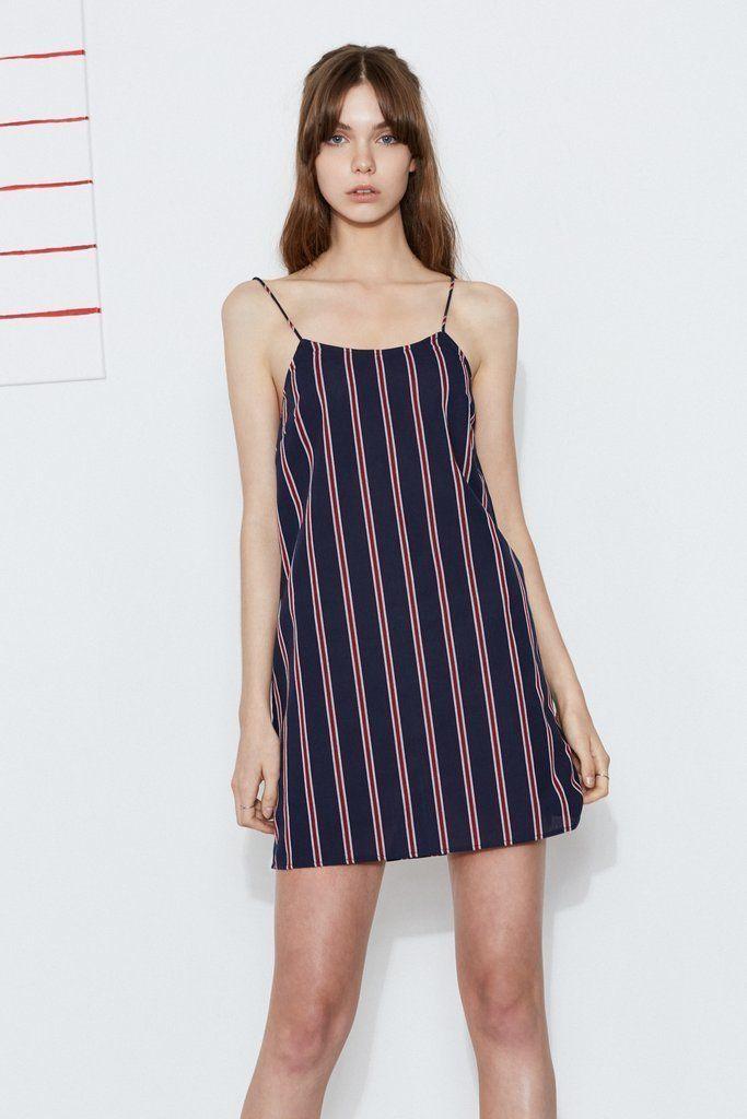 The Fifth Label - Celeste Stripe Dress - Navy/Ruby