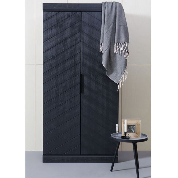 Unique Kleiderschrank Massivholz schwarz Schrank schwarz Holz