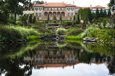 Philbrook Museum garden and pond inTulsa, Oklahoma.