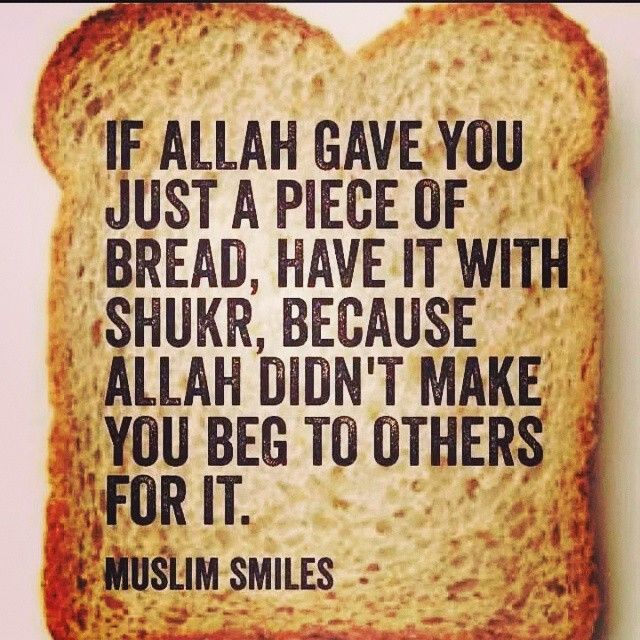 If Allah gave you just a piece of bread, have it with syukr (gratitude), .....