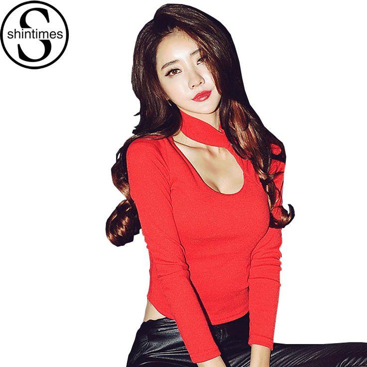 Camiseta T-shirt 2016 Fashion Sexy T Shirt Women Hole Korean Tops Short Slim Long Sleeve Tshirt Vetement Femme Poleras De Mujer