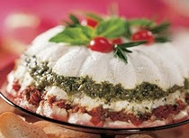 3  packages (8 oz each) cream cheese, softened (light)   1/2  cup grated Parmesan cheese   3  cloves garlic, finely chopped   1  container (7 oz) refrigerated basil pesto   1  jar (8 oz) minced oil-packed sun-dried tomatoes, well drained   Baguette slices or crackers