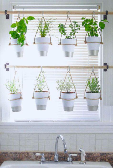 herb garden idea for office space diy indoor hanging herb garden learn how to make an easy budget friendly hanging herb garden for your window - Herb Garden Ideas Uk