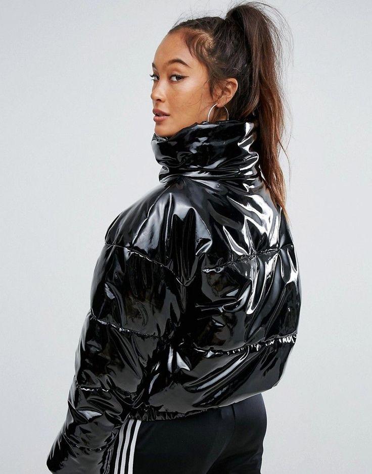 ASOS High Shine Patent Puffer Jacket - Black
