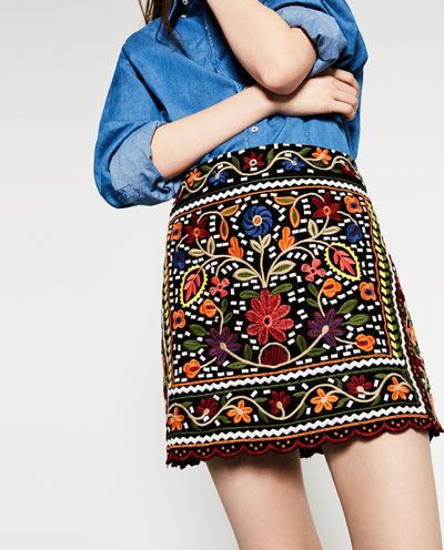 Image 2 of FLORAL EMBROIDERED SKIRT from Zara