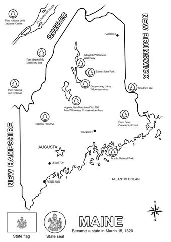 Maine Map Coloring page