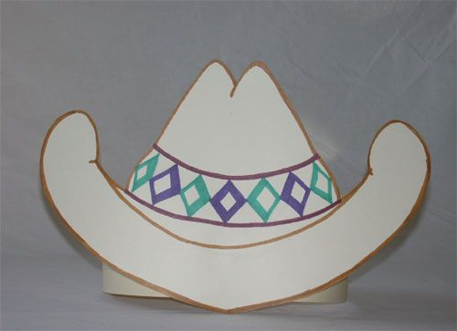 paper cowboy hat template: http://www.janetsquires.com/Hat.html