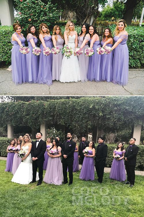 Pretty Bridesmaid Dress Shade! Both Of Our Bride And Her Maids Look Amazing! Thanks For Sharing!#wedding #bridesmaids #bridesmaiddresses #cocomelody #purpledresses#customdresses