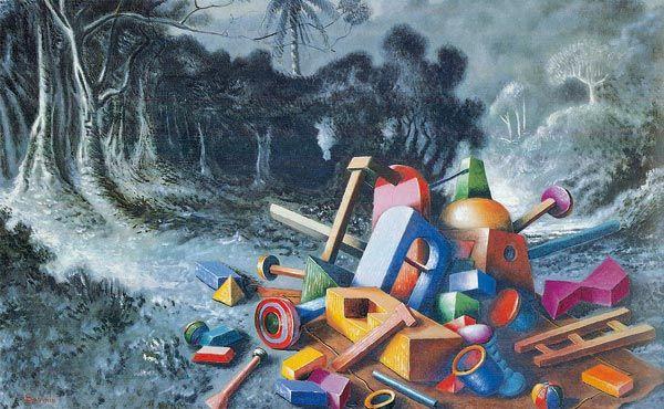 alberto savinio opere pittoriche -  «Oggetti nella foresta» (1927-1928)
