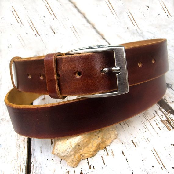 Men's leather belt Jeans leather belt Chocolate brown by JeansBelt