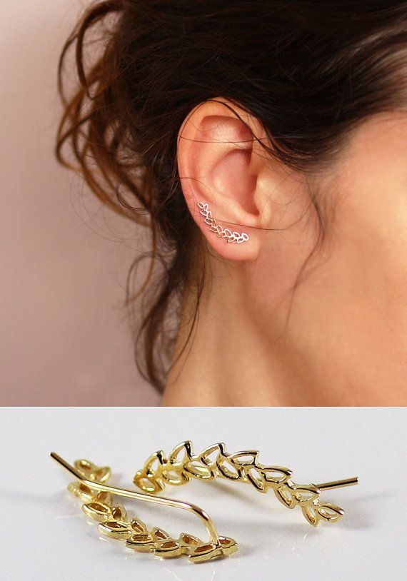 Leaves Ear cuff ,   Ear Climber , Gold Ear pin  , Gold leaves earrings, sterling silver , graduation gift