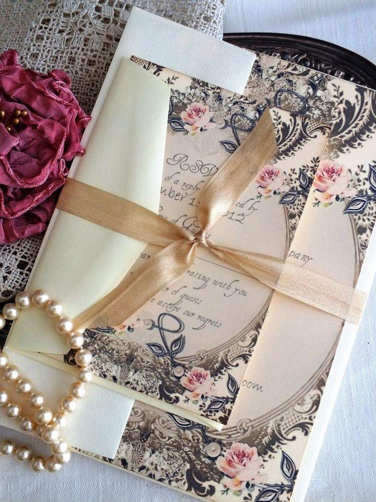 Vintage Romantic Wedding Invitation Handmade by avintageobsession on etsy