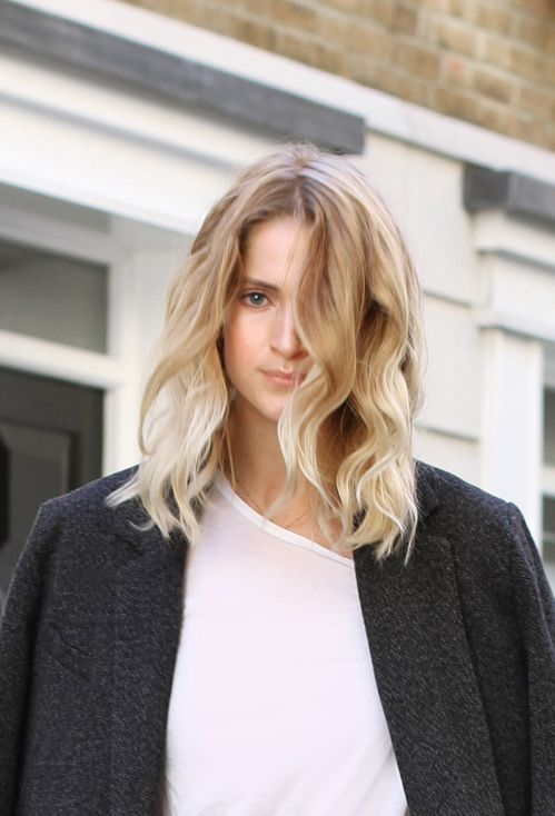 Mid length hair & soft waves aka long bob. Via Mija