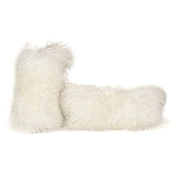 White Tibetan Lamb Pillow with Linen Fabric
