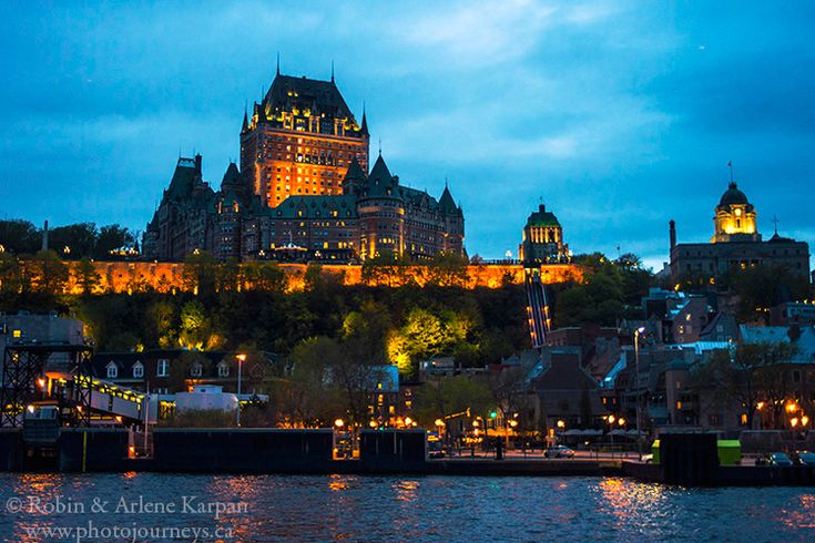 Chateau Frontenac at night, from boat cruise on @m.croisieresaml.com,  Quebec City