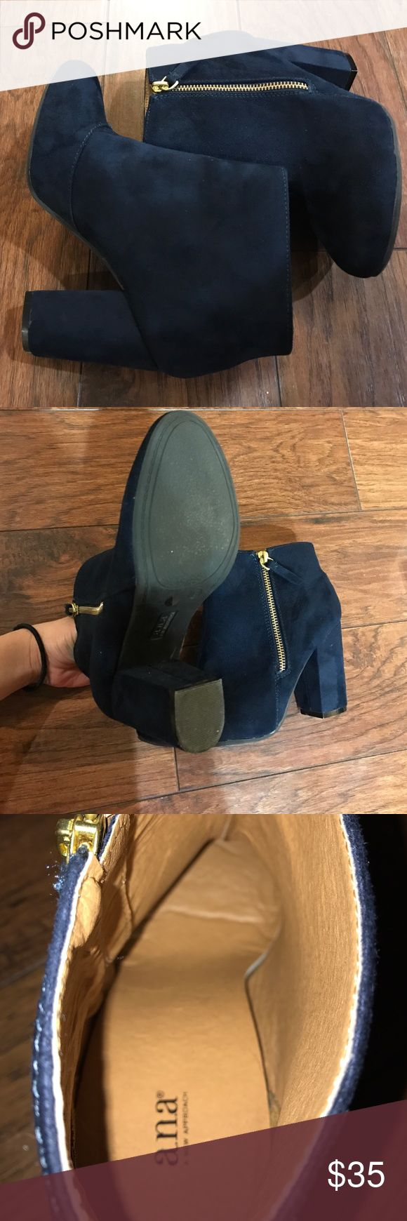 a.n.a navy blue booties navy blue booties with a wedge. Worn once. a.n.a Shoes Heeled Boots