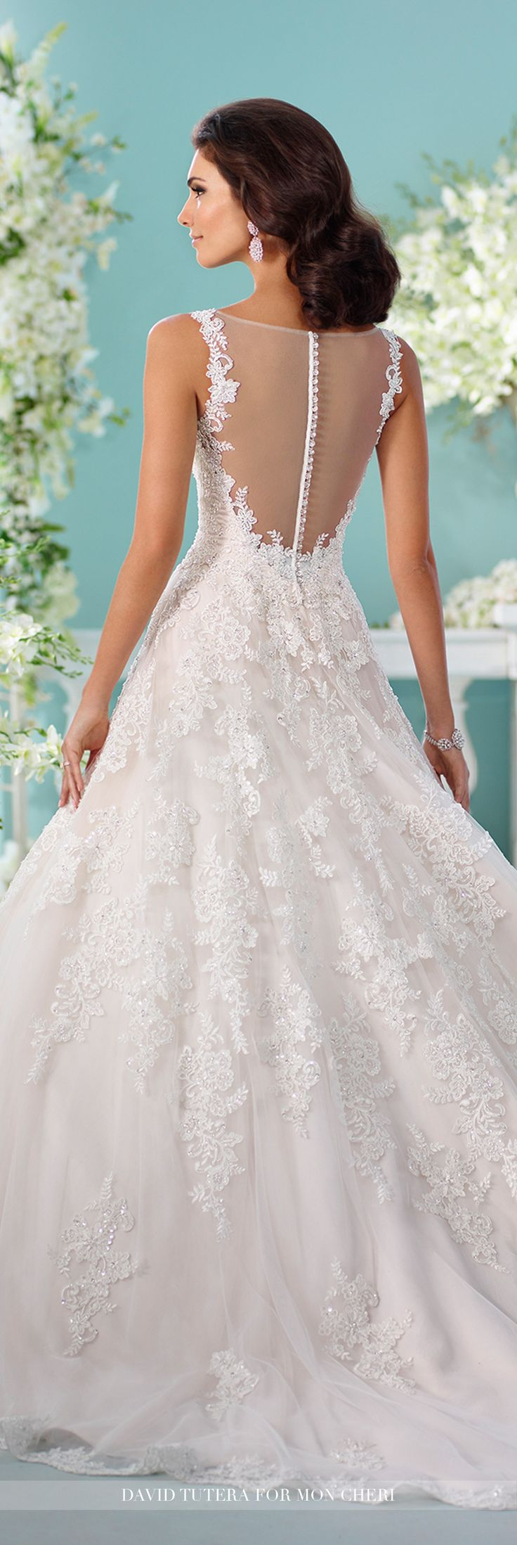 shoulder tulle over organza ball gown wedding dress with illusion