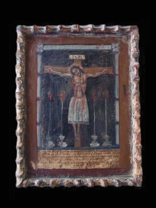 De kruisiging van Christus  1. op perkament getekend2. vervolgens gekleurd3. gemonteerd op hout4. verbeterde met verfGrootte zonder kader: 21 x 28 cmGrootte in frame: 24 x 305 cm  EUR 5.00  Meer informatie