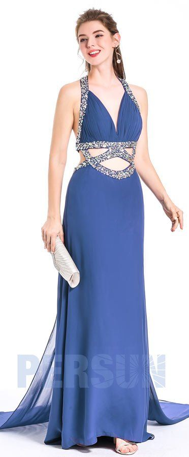 Robe de bal longue sexy pour soirée danse bleu gris col américain embellit de sequins taille découpe