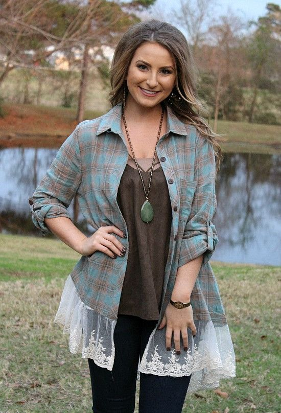 Your Sweet Smile Teal & Brown Plaid Button Up with Lace Trim – Giddy Up Glamour Boutique
