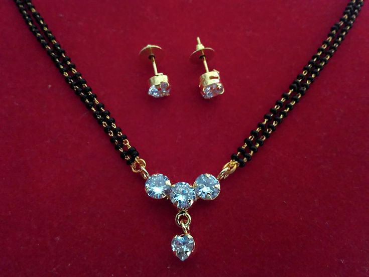 22k gold three  diamond round   mangalsutra pendant with earrings
