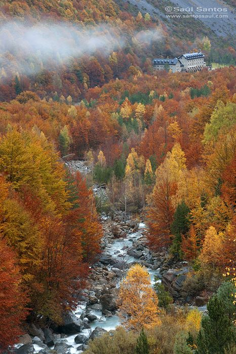 Fall in the valle of Ordesa and Monte Perdido National Park, Spanish Pyrenees.