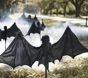 outdoor halloween decorations staked yard bats - Halloween Bat Decorations