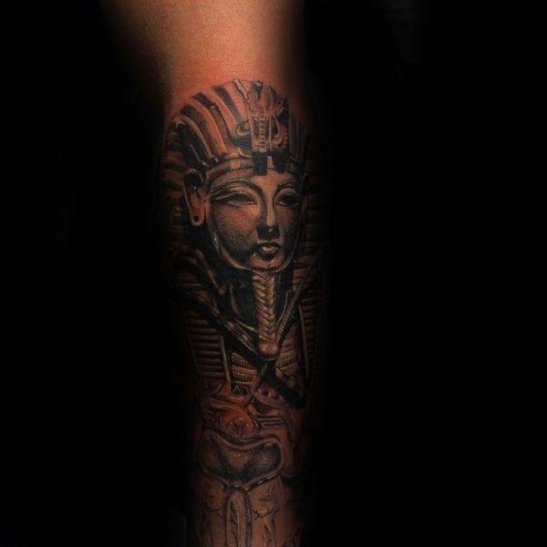 Mens King Tut Forearm Shaded Ink Design Ideas | Mis ...