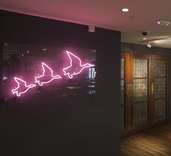 Café Liberty at Liberty, London, neon, pink