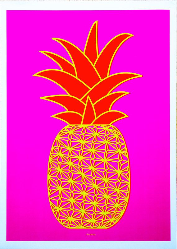Pineapple Ananas - Graphic A3 Art Print (hot pink/yellow/red by Ramalamb on Etsy