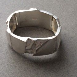 "Gallery 925 - Lapponia Modernist ""Galactic"" Bracelet by Bjorn Weckstrom, Handmade Sterling Silver"