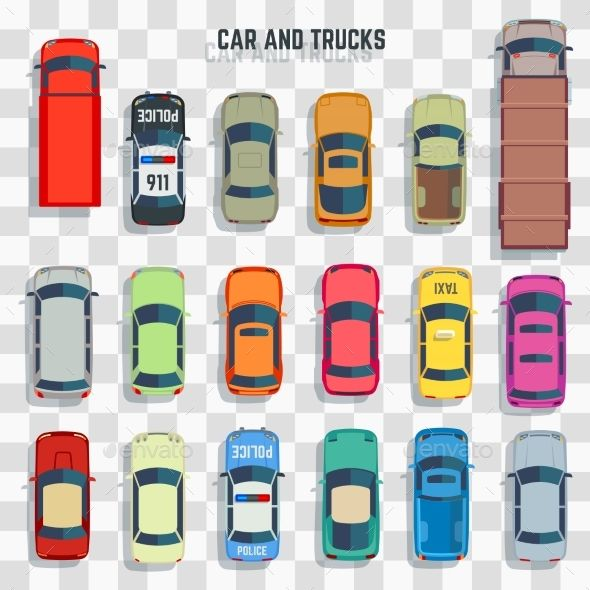 Cars And Trucks Top View Isolated On Transparent