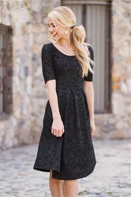 Modest Jane Dress  – ModestPop.com - modest black textured dress, modest fashion, modest clothes
