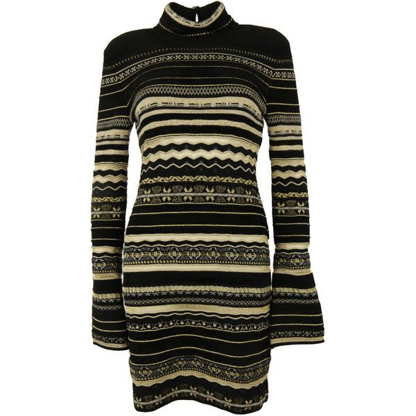 Roberto Cavalli Knitted Dress (£1,040) ❤ liked on Polyvore featuring dresses, long sleeve turtleneck, turtleneck dress, yellow gold dress, long sleeve dress and gold dress