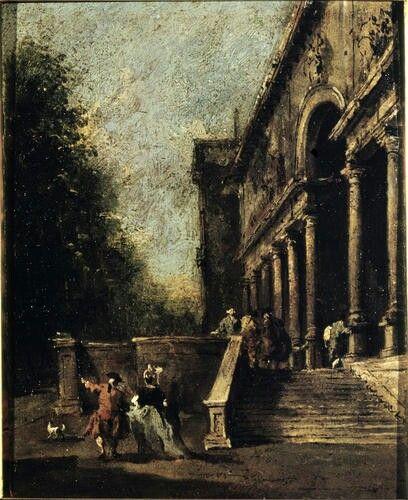 Atrio di villa con scalinata. 1790. Olio su tela. Accademia Carrara di Bergamo