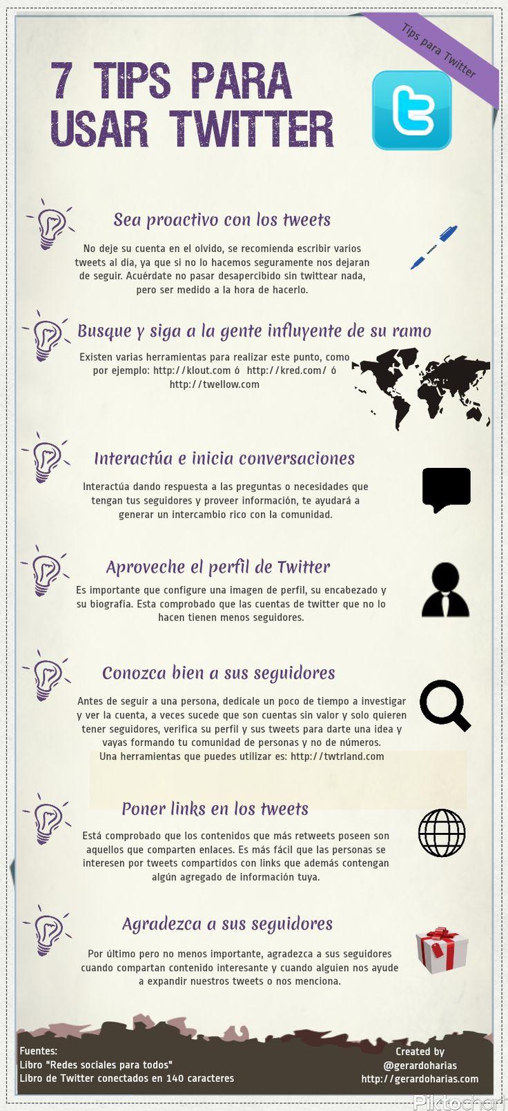 7 consejos para usar Twitter #infografia #infographic #socialmedia