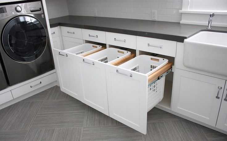 bathroom laundry cabinet | Bathroom Cabinet With Built In Laundry Hamper uploaded by Rack Design ...