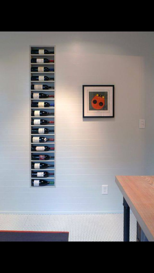 ❤️ Build between studs in the wall- handy place for storing wine.