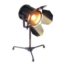 """Create a captivating mise-en-scene for your next movie night with this artfully crafted design, perfect for your den, living room, or home theater.   Product: Accent lampConstruction Material: MetalColor: BlackFeatures:  Authentic-looking mini spotlightAdjustable height Accommodates: (1) 40 Watt 120 volt bulb - not includedDimensions: 14"""" H"""