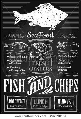 Fish restaurant. Fish & chips poster. Menu for fish restaurant or bar with a picture of the fish on a blackboard. Simple drawn sketch in vector format. - Shutterstock Premier