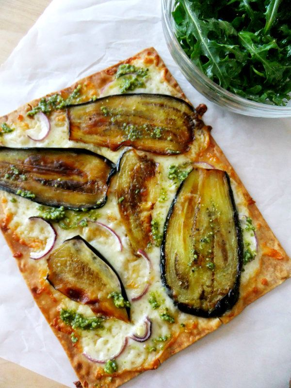 Pizza aux aubergines (pas pour la pâte mais pour la garniture)