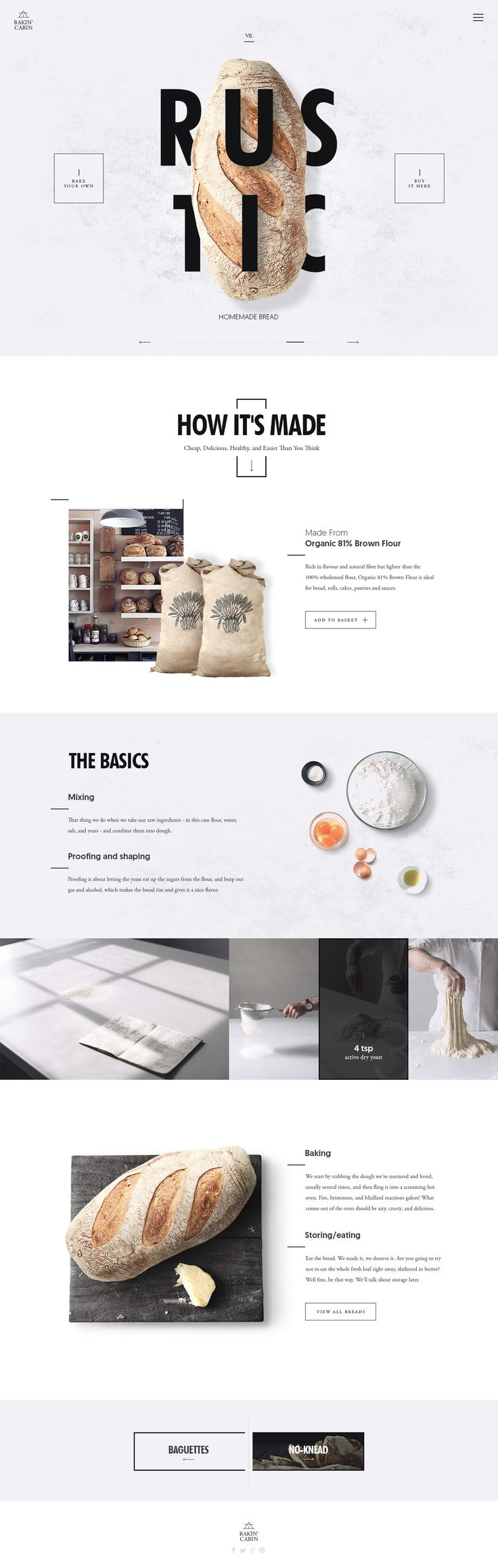 Bakin' Cabin layout on Inspirationde. We love this simple, elegant layout. #Sexywebdesign #Webdesign