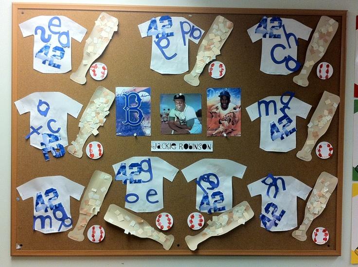 Black History Toddler Craft- Jackie Robinson (baseball jerseys,mosaic baseball bats, and thumbprint baseballs).