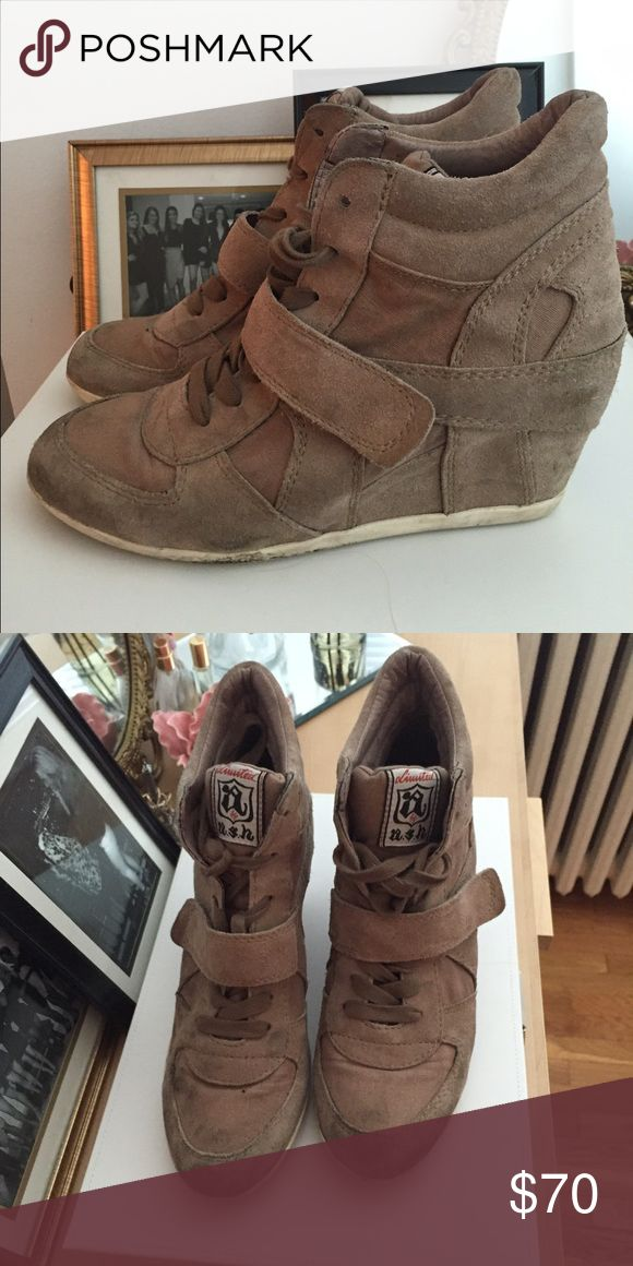 ASH Bowie wedge sneakers In brown, size ten. Ash Shoes Sneakers
